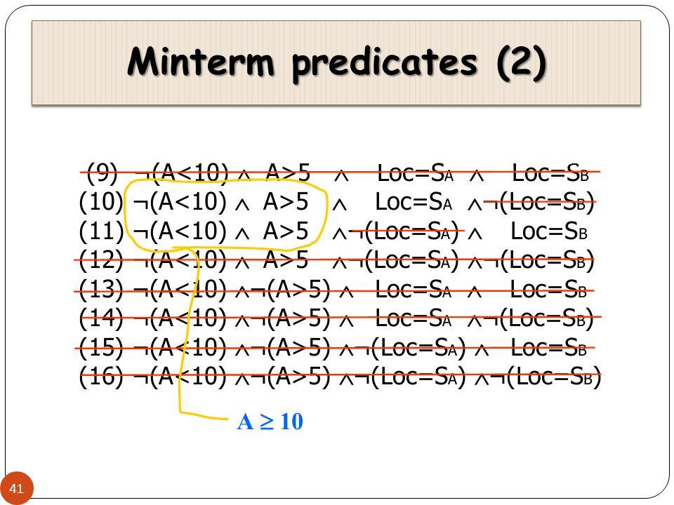 Minterm predicates (2)