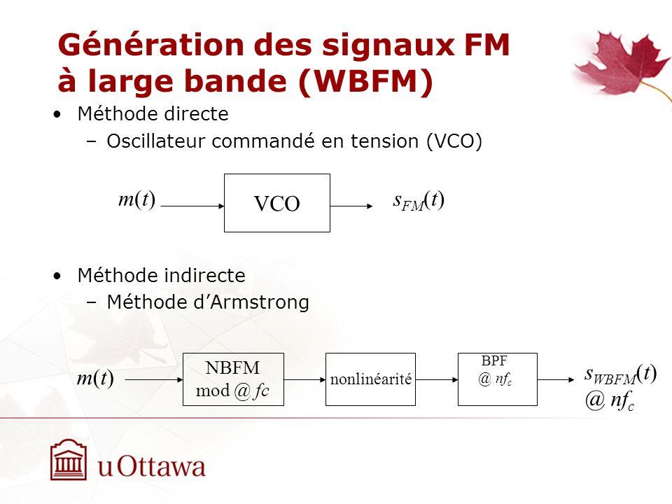 Génération des signaux FM à large bande (WBFM)