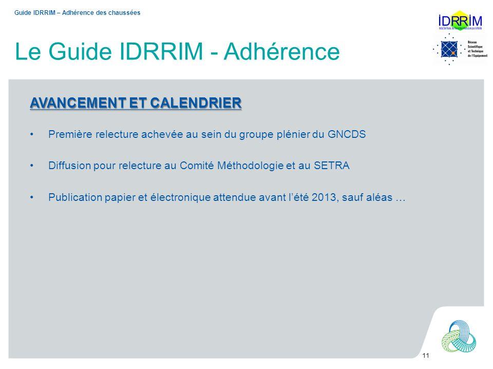 Le Guide IDRRIM - Adhérence