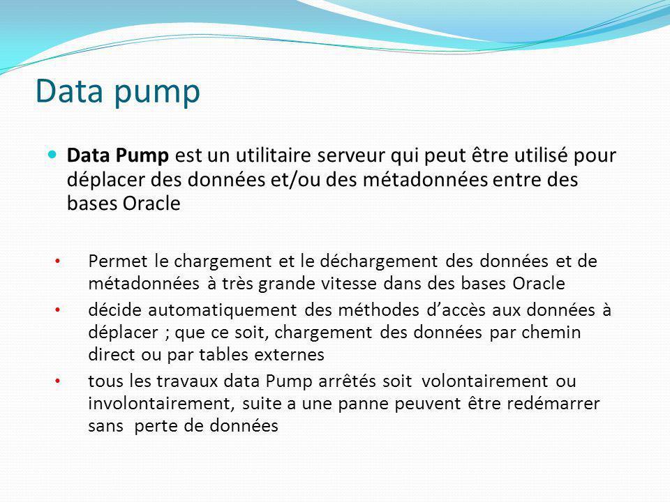 Data pump Data Pump est un utilitaire serveur qui peut être utilisé pour déplacer des données et/ou des métadonnées entre des bases Oracle.