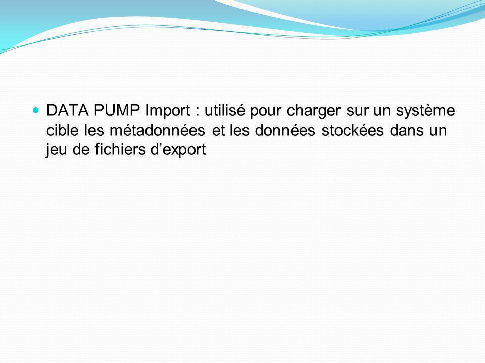 DATA PUMP Import : utilisé pour charger sur un système cible les métadonnées et les données stockées dans un jeu de fichiers d'export
