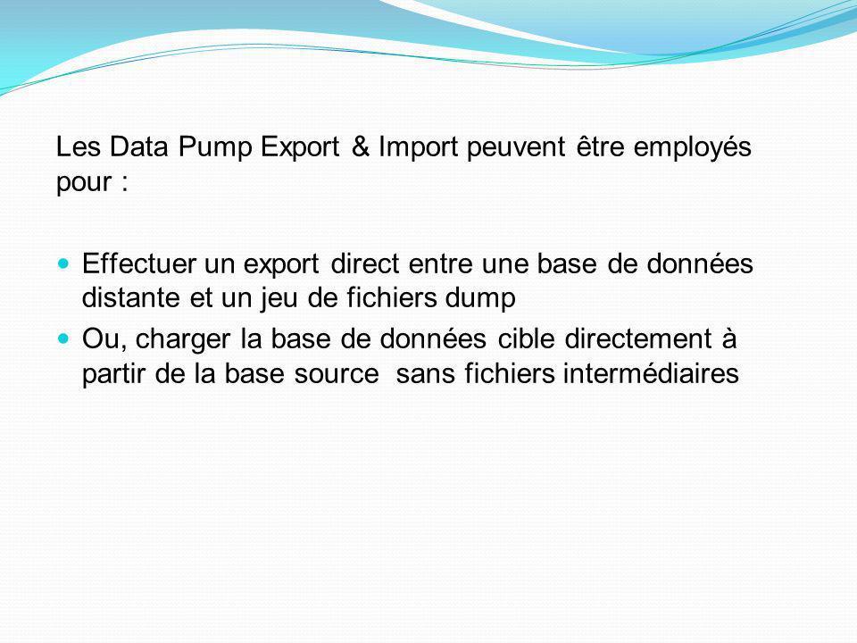 Les Data Pump Export & Import peuvent être employés pour :