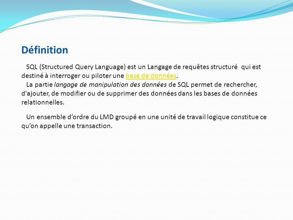 Définition SQL (Structured Query Language) est un Langage de requêtes structuré qui est destiné à interroger ou piloter une base de données.