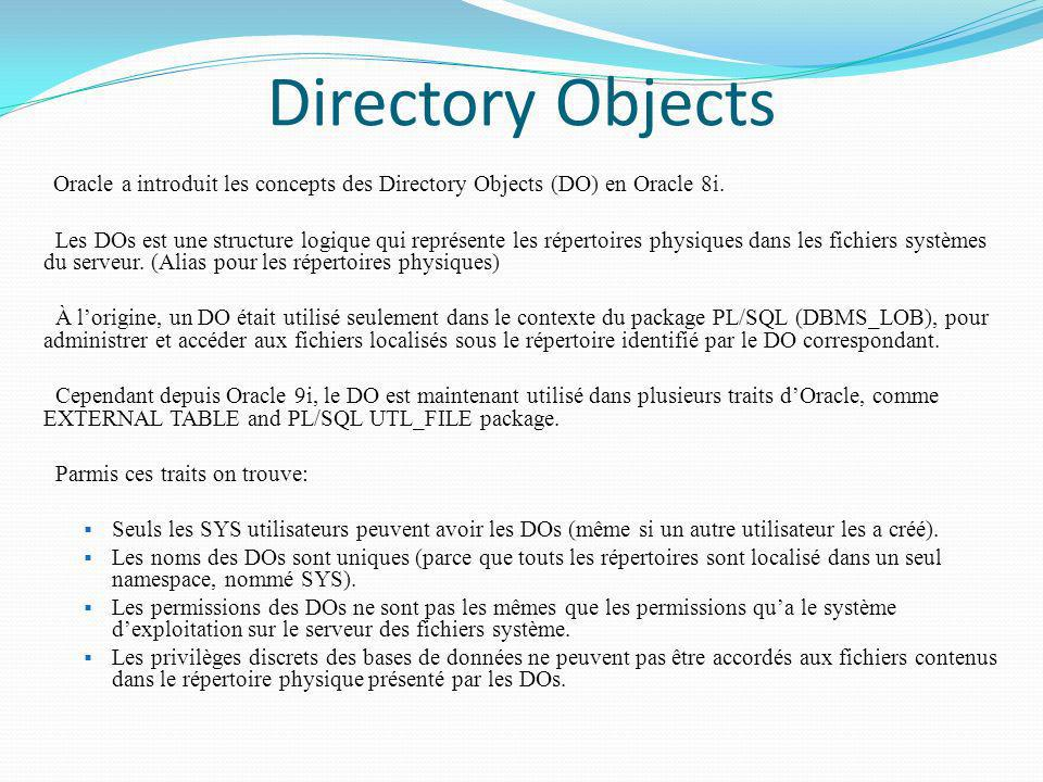 Directory Objects Oracle a introduit les concepts des Directory Objects (DO) en Oracle 8i.