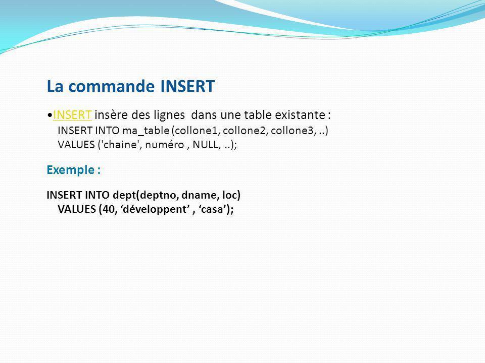 La commande INSERT INSERT insère des lignes dans une table existante :