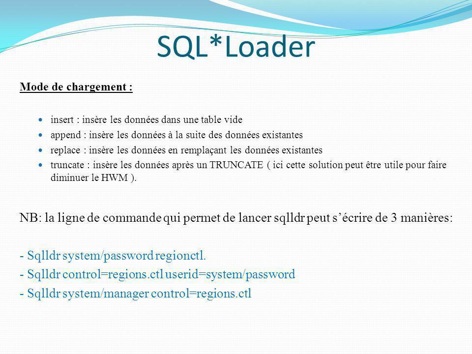 SQL*Loader Mode de chargement : insert : insère les données dans une table vide. append : insère les données à la suite des données existantes.