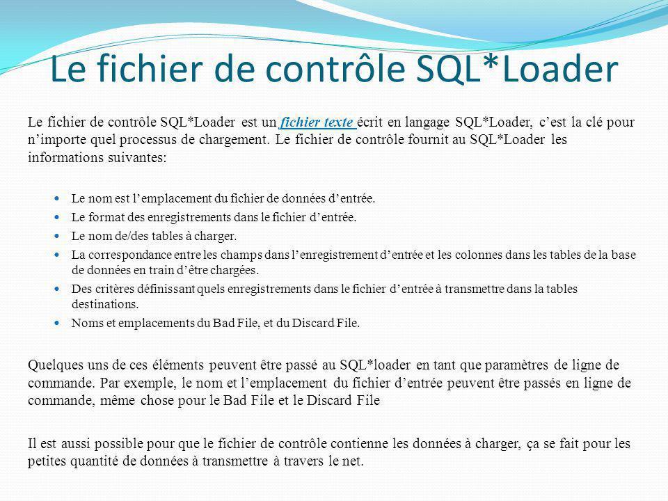 Le fichier de contrôle SQL*Loader