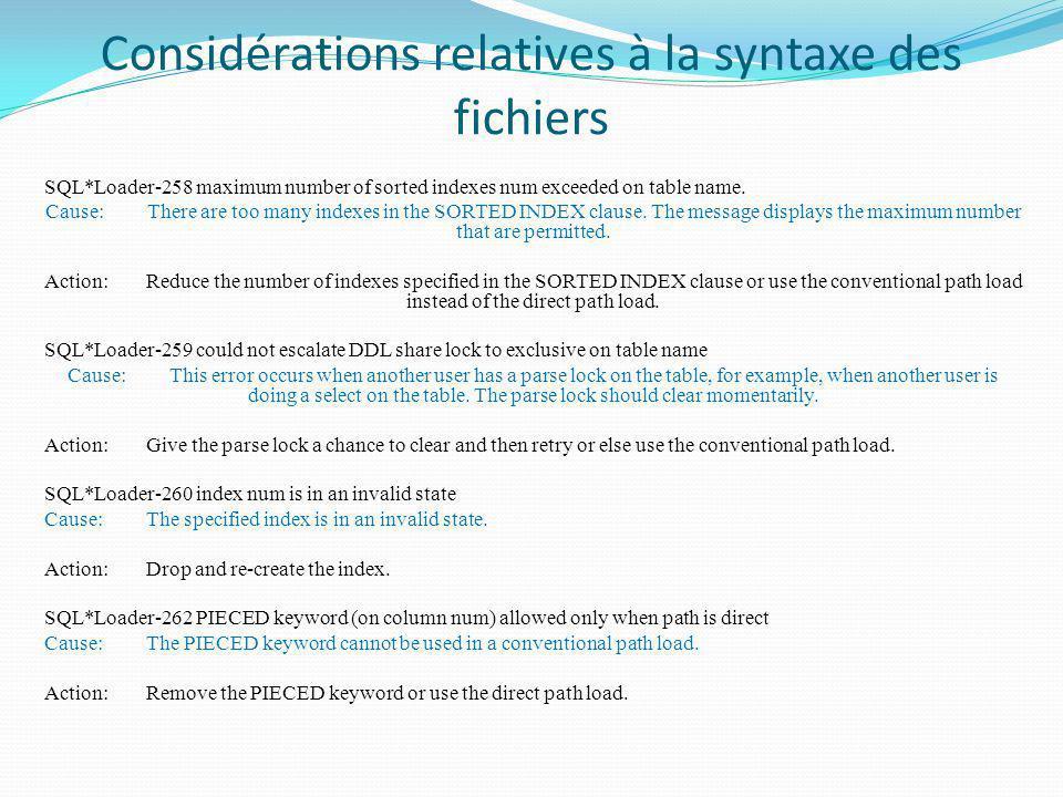 Considérations relatives à la syntaxe des fichiers