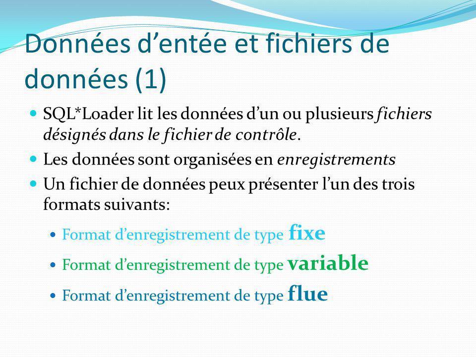 Données d'entée et fichiers de données (1)