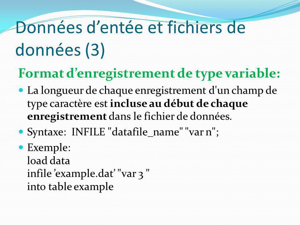 Données d'entée et fichiers de données (3)