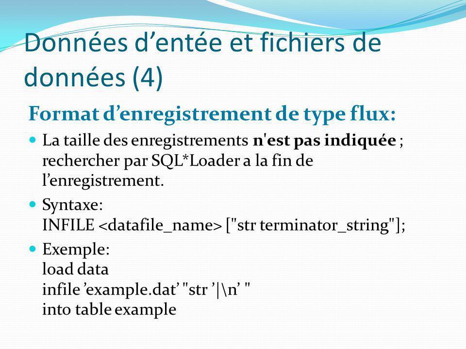 Données d'entée et fichiers de données (4)