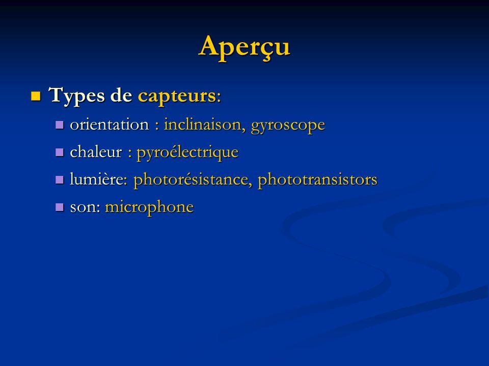 Aperçu Types de capteurs: orientation : inclinaison, gyroscope