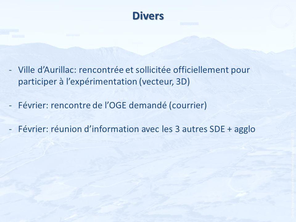 Divers Ville d'Aurillac: rencontrée et sollicitée officiellement pour participer à l'expérimentation (vecteur, 3D)