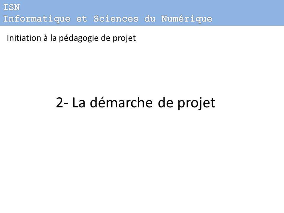 2- La démarche de projet ISN Informatique et Sciences du Numérique