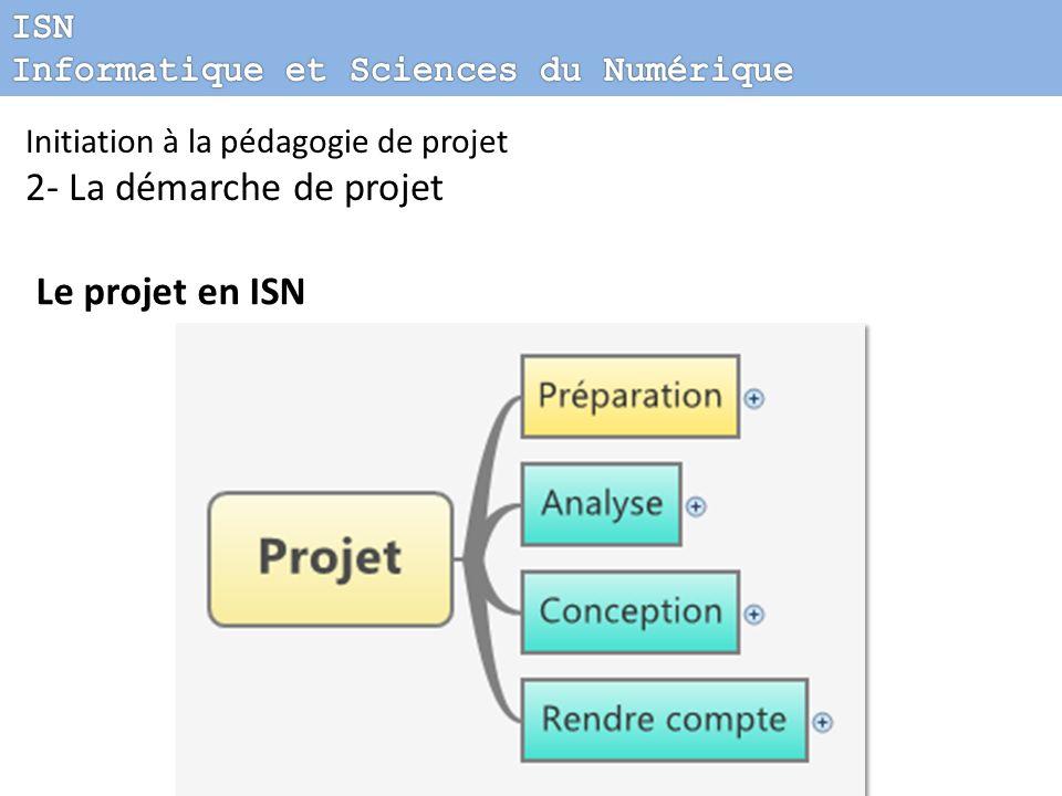 2- La démarche de projet Le projet en ISN ISN