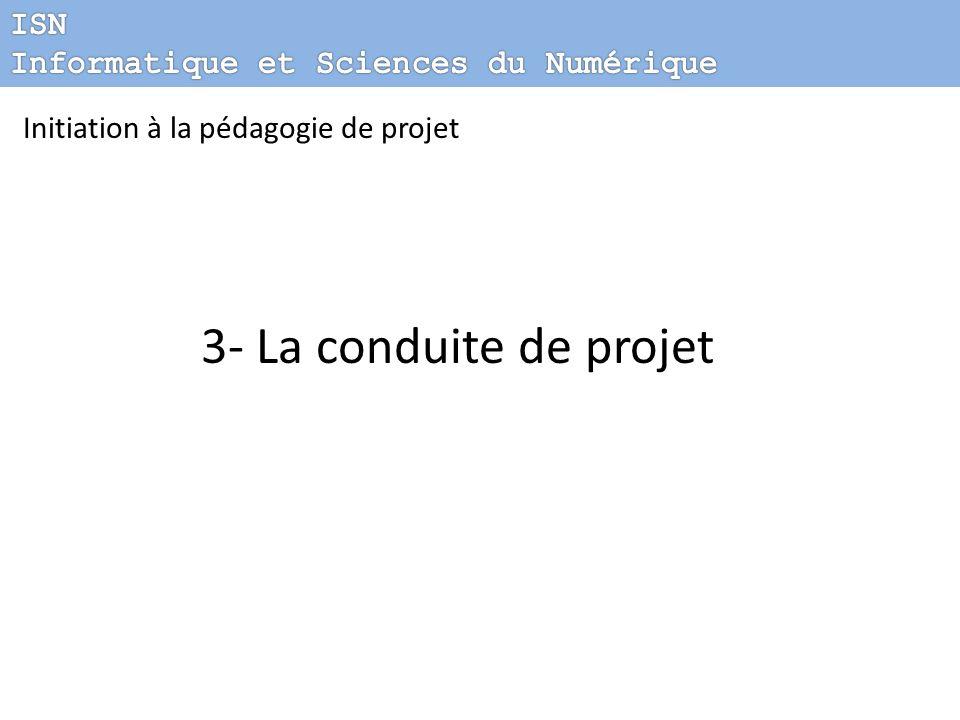 3- La conduite de projet ISN Informatique et Sciences du Numérique