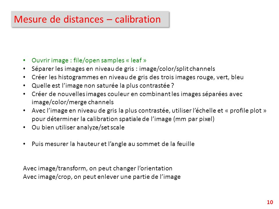 Mesure de distances – calibration
