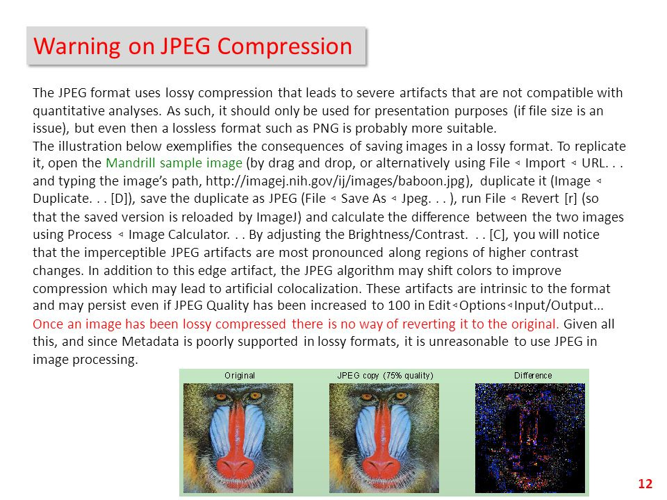 Warning on JPEG Compression