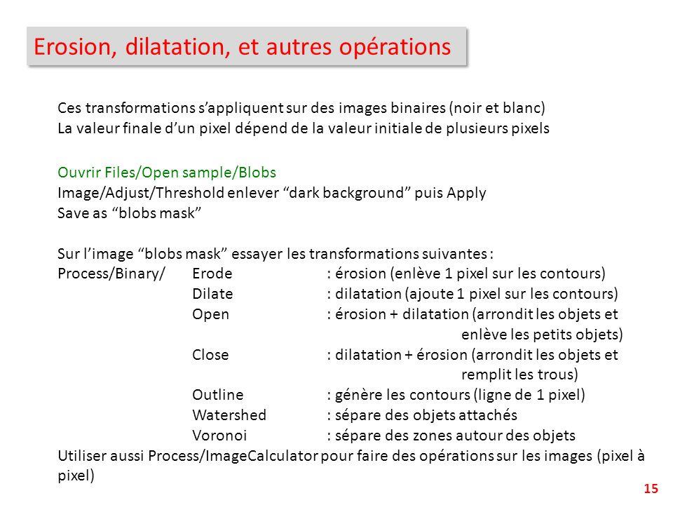 Erosion, dilatation, et autres opérations