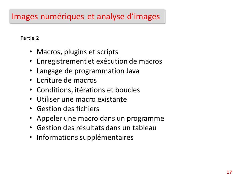 Images numériques et analyse d'images