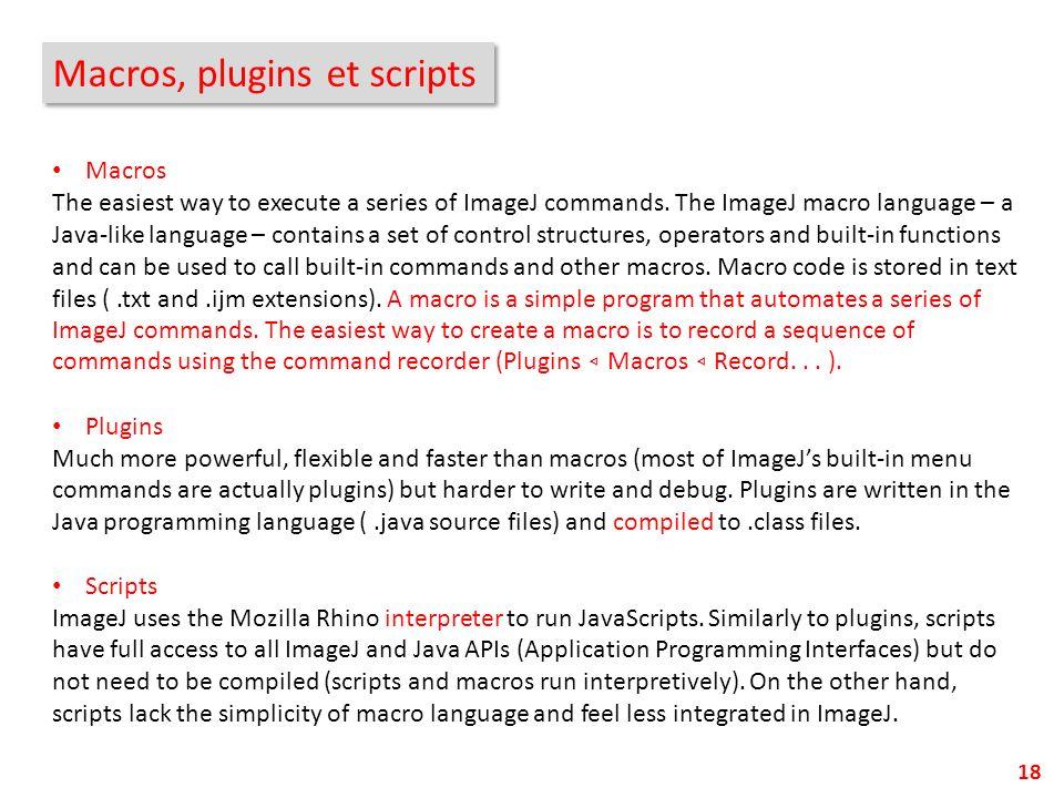 Macros, plugins et scripts