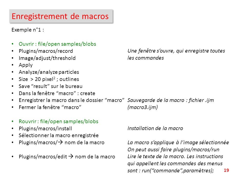 Enregistrement de macros