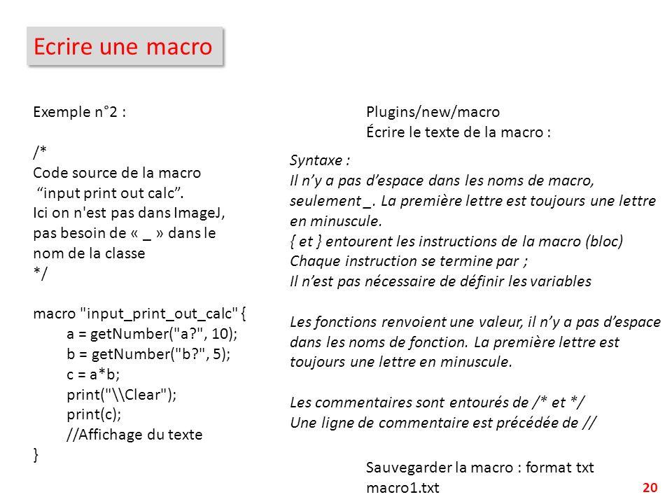 Ecrire une macro Exemple n°2 :