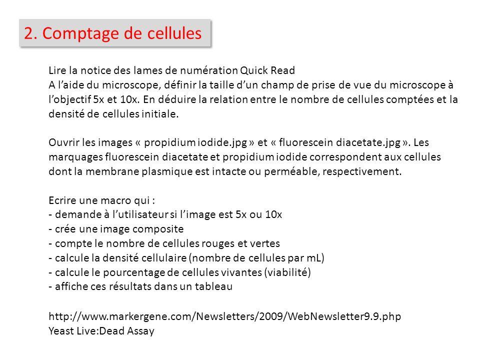 2. Comptage de cellules Lire la notice des lames de numération Quick Read.