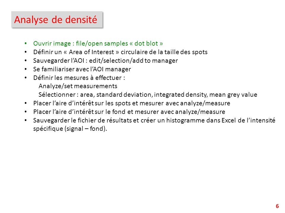 Analyse de densité Ouvrir image : file/open samples « dot blot »