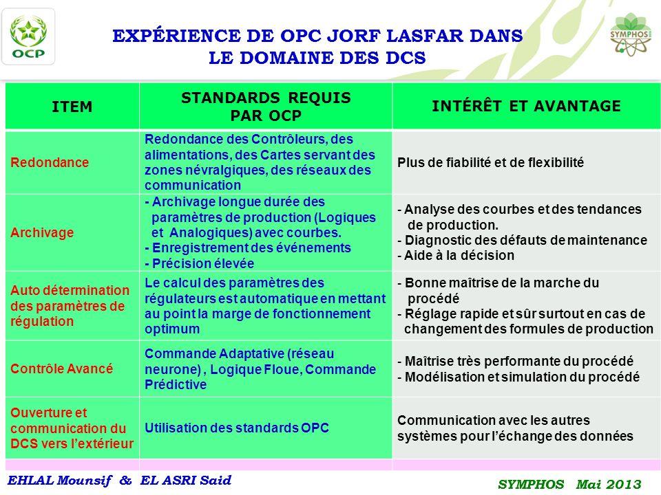 EXPÉRIENCE DE OPC JORF LASFAR DANS LE DOMAINE DES DCS