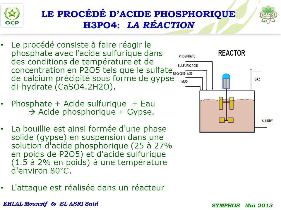 LE PROCÉDÉ D'ACIDE PHOSPHORIQUE H3PO4: LA RÉACTION