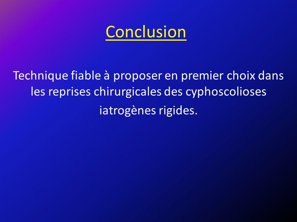 Conclusion Technique fiable à proposer en premier choix dans les reprises chirurgicales des cyphoscolioses.