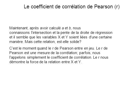 Le coefficient de corrélation de Pearson (r)
