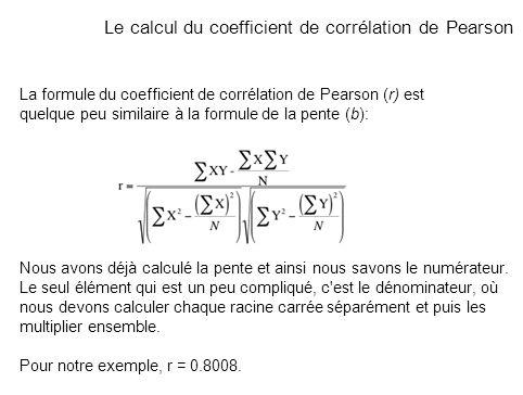 Le calcul du coefficient de corrélation de Pearson