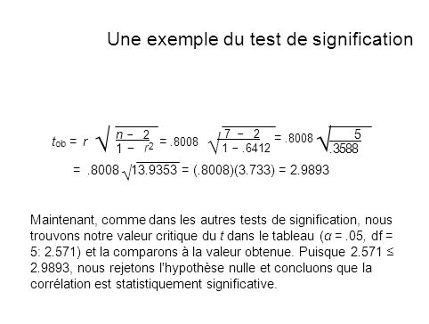 √ √ Une exemple du test de signification n − 2 5 r2 = .8008 √ √