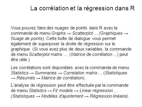 La corrélation et la régression dans R