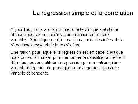 La régression simple et la corrélation