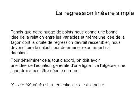 La régression linéaire simple