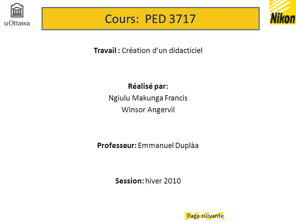 Cours: PED 3717