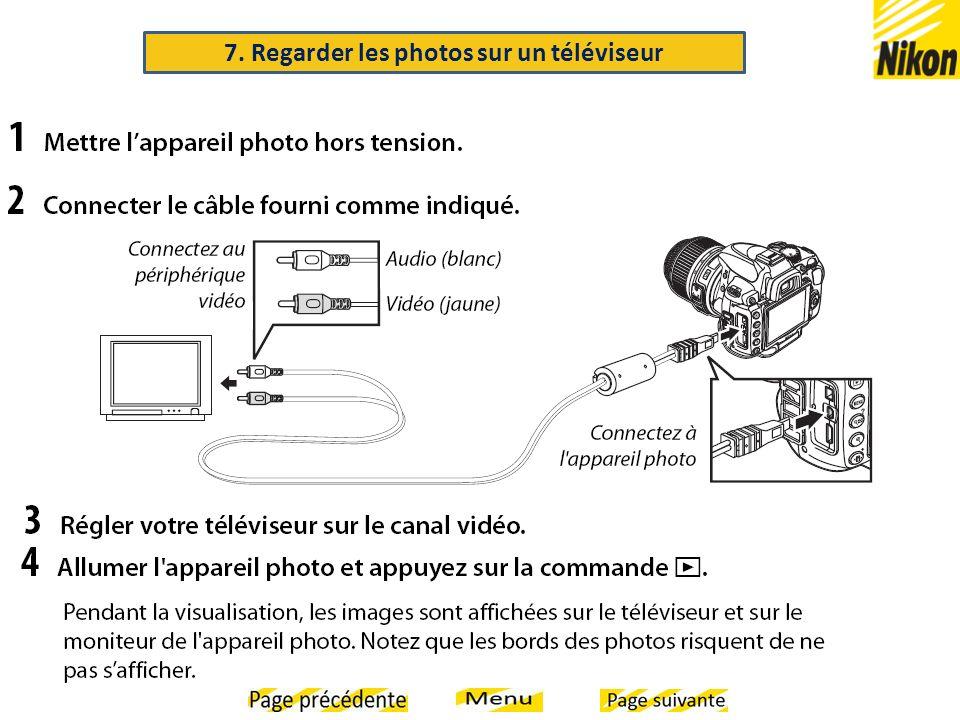 7. Regarder les photos sur un téléviseur