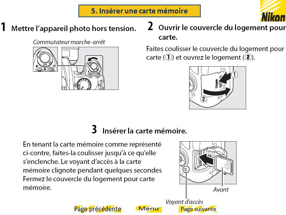 5. Insérer une carte mémoire