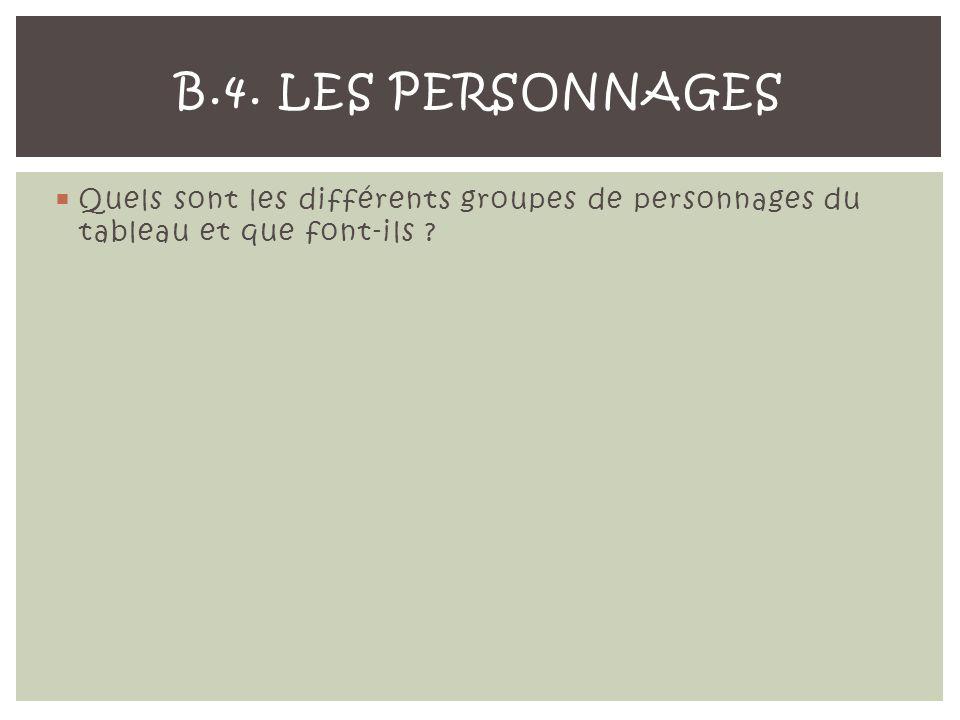 B.4. Les personnages Quels sont les différents groupes de personnages du tableau et que font-ils