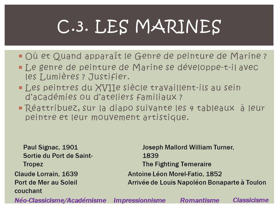 C.3. Les Marines Où et Quand apparaît le Genre de peinture de Marine
