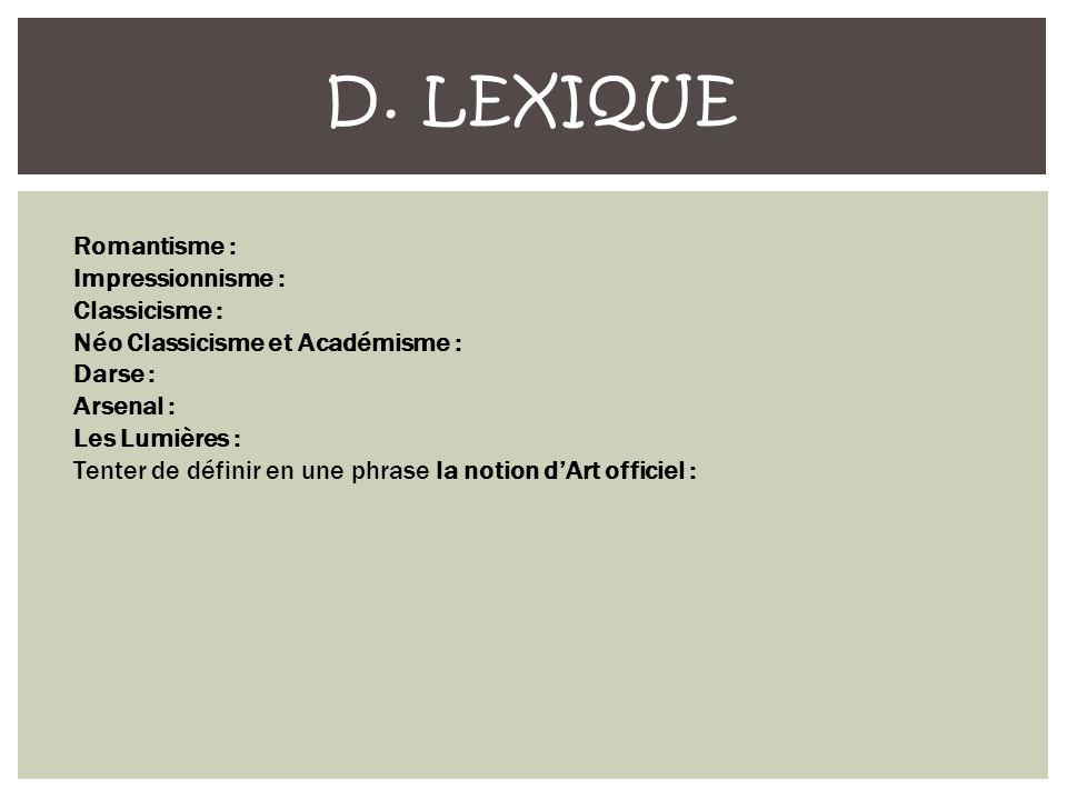 D. Lexique Romantisme : Impressionnisme : Classicisme :