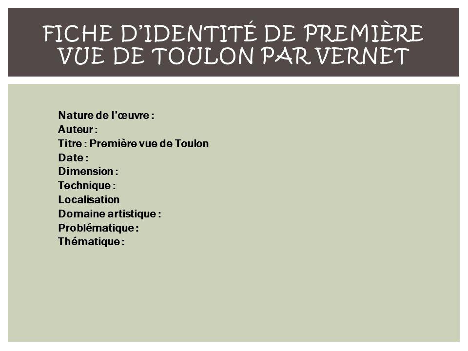 Fiche d'identité de Première Vue de Toulon par Vernet