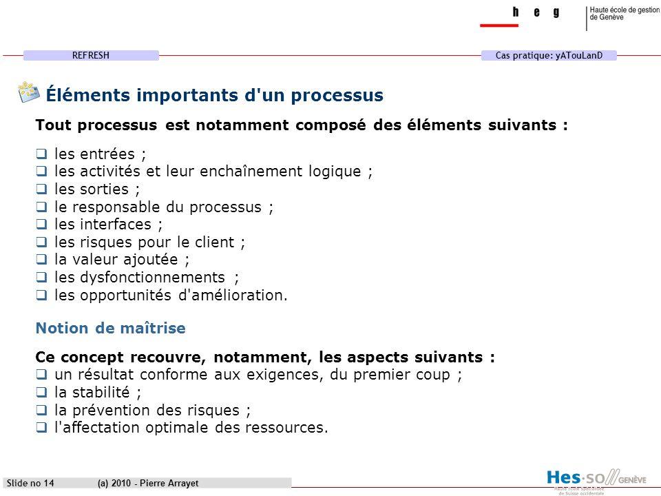Éléments importants d un processus