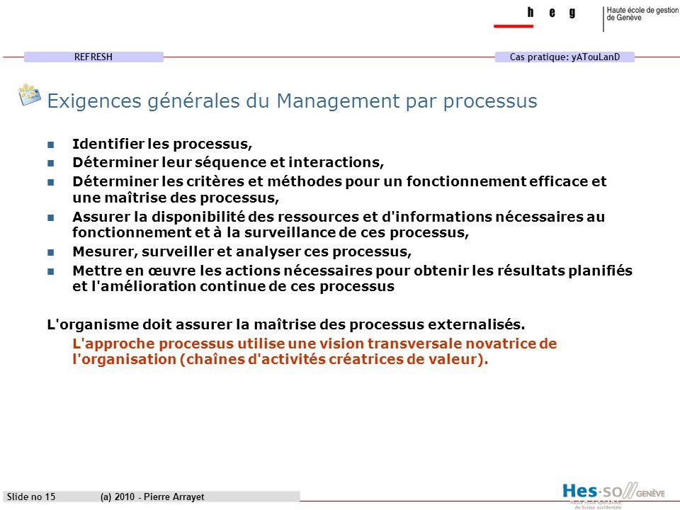 Exigences générales du Management par processus