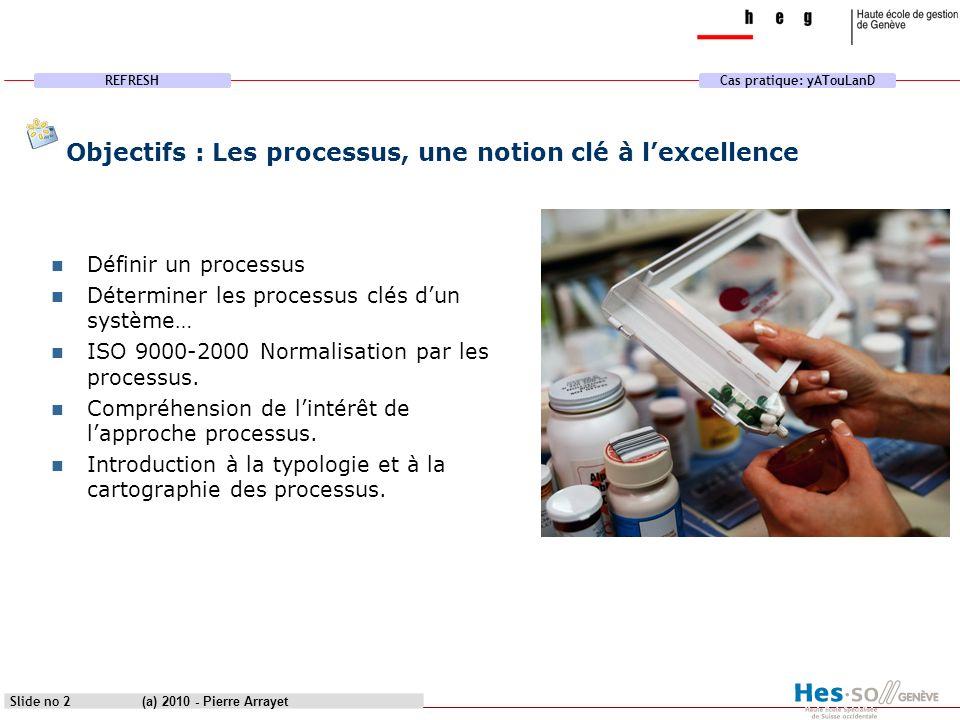 Objectifs : Les processus, une notion clé à l'excellence