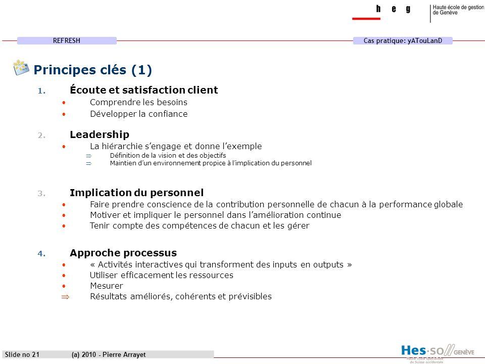 Principes clés (1) Écoute et satisfaction client Leadership