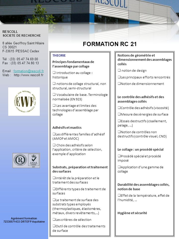 FORMATION RC 21 THEORIE. Principes fondamentaux de l'assemblage par collage. Introduction au collage : historique.